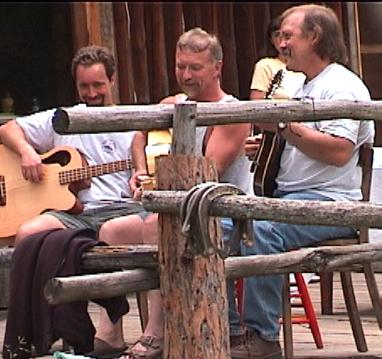 The Bush Pilots jamming at the lodge.